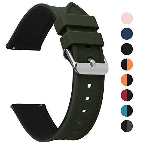 Fullmosa Silikon Uhrenarmband 22mm mit Schnellverschluss in 8 Farben, Regenbogen Weich Silikon Uhrenarmband mit Edelstahlschnalle,22mm Armeegrün+Schwarz