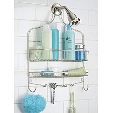 mDesign Wide Shower Caddy, Storage for Shampoo, Conditioner, Soap - Satin/White