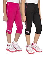 OCEAN RACE Girls Stylish attarctive Colors Cotton Capris(3/4 Th Pant)-Pack of 2