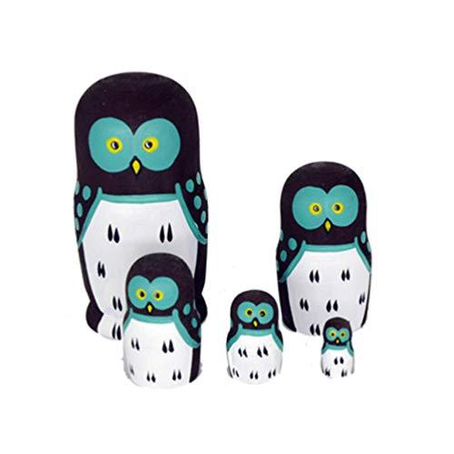 Healifty Eulen russische Nesting Dolls 5 Schichten Holz Matroschka Spielzeug Tier Stapeln Puppe Sammlung Spielzeug Wohnkultur Geburtstagsgeschenk