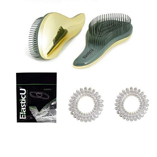 ElasticU Detangling Brush - Detangling Brush for Adults & Kids Hair - Detangler Comb , Elastics ,Coils - Hair Brush for Curly , Straight , Natural ,Wet or Dry Hair (Gold)