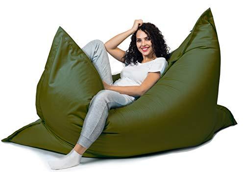 sunnypillow XL Sitzsack, Riesensitzsack Outdoor & Indoor 100 x 150 cm mit 140L Styropor Füllung Sessel für Kinder & Erwachsene Sitzkissen Sofa Beanbag viele Farben und Größen zur Auswahl Dunkelgrün