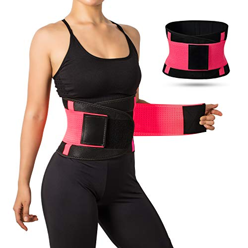 Jueachy Waist Trainer Belt for Women, Breathable Waist Cincher Trimmer Body Shaper Sweat Belt Girdle Fat Burn Belly Slimming Band for Weight Loss Fitness Workout