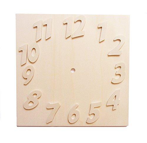Set Base sagoma forma Orologio a forma quadrata + numeri in legno per il fai da te