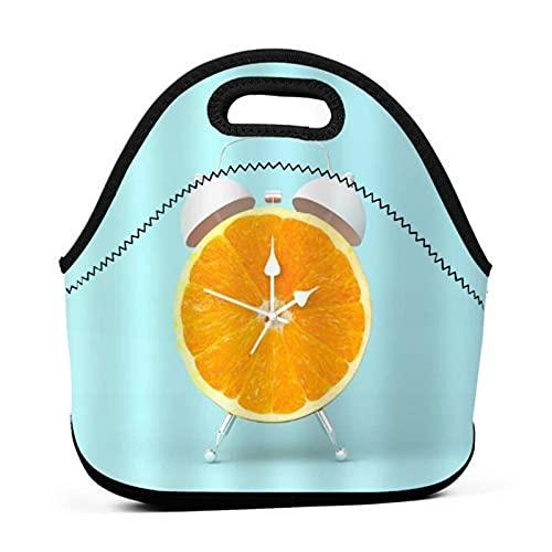 ADONINELP Bolsa de almuerzo portátil para Bento,divertido reloj despertador con frutas amarillas y naranjas,paquete de neopreno con cremallera para la escuela,el trabajo,la oficina,el bolso de viaje