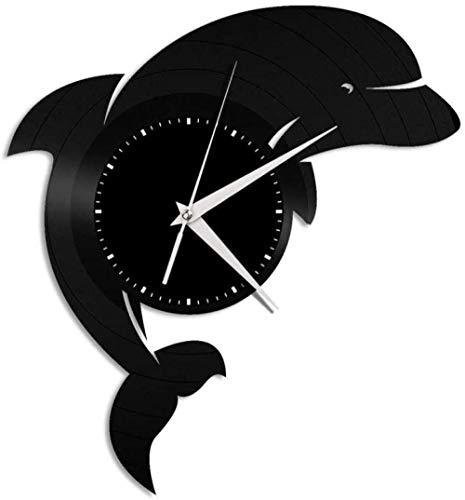 wttian Hombres y Mujeres Decorativo patrón de Delfines Vinilo Reloj de Pared decoración del hogar diseño Retro Oficina Bar Sala decoración del hogar