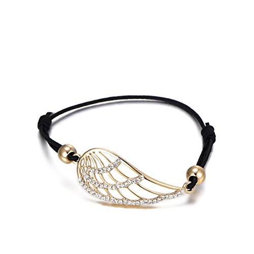 Pulsera de abalorios para mujer, pulsera de alas de ángel de la suerte, pulsera de pulsera ajustable de cordón de cera negro con cristal Placcato Oro