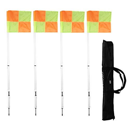 Kosma Paquete 4 - Banderas de Esquina Plegables con Punta/Resorte extraíbles - Poste Blanco de 5 pies con banderola y Bolsa de Transporte