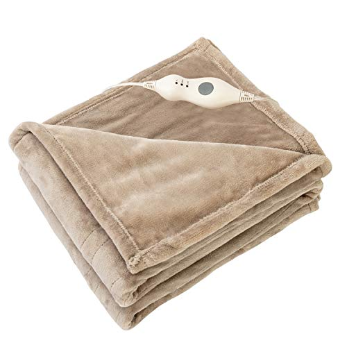 Tefici Electric Heated Blanket Throw with 3 Heating Levels & 4 Hours Auto Off,Super Cozy Soft Heated Sherpa Throw with Fast Heating and Machine Washable,Home Office Use,50' x 60' Camel