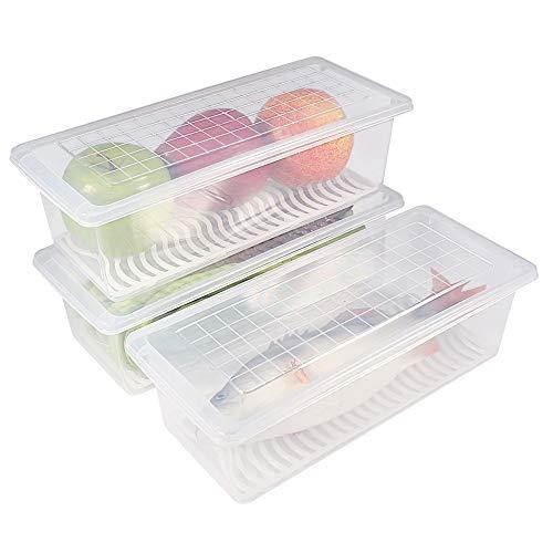 77L Recipiente de almacenamiento de alimentos de plástico, contenedores apilables con placa de drenaje extraíble con tapa, mantener fresco para almacenar peces, carne, verduras y más (Paquete de 3)