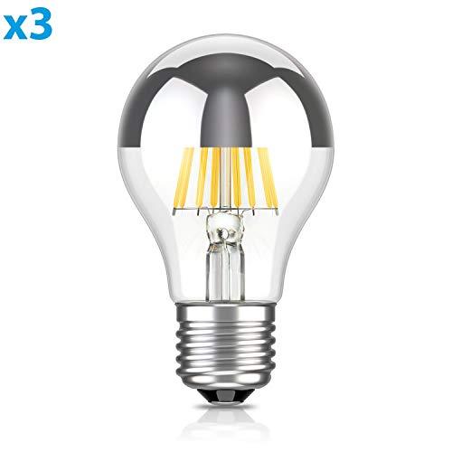ledscom.de E27 Testa a Specchio LED Lampadina filamento A60 6W =55W Bianca Calda 710lm A++ per Interni ed Esterni, 3 PZ
