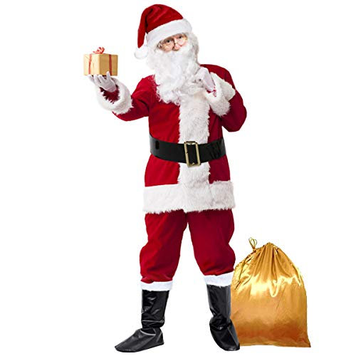 Santa Suit Adults Men Christmas Santa Costume Burgudy Christmas Claus Costume Men's Adult Santa Suit