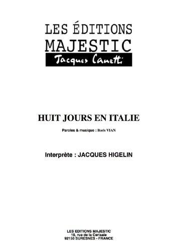 HUIT JOURS EN ITALIE