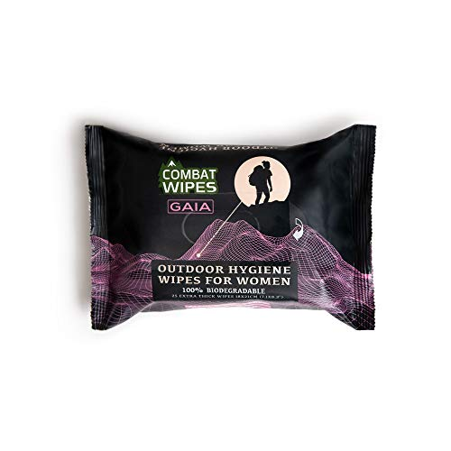 Combat Wipes Gaia | Feminine Hygiene Outdoor Wet Wipes | Extra Thick, Ultralight, Biodegradable, pH Balanced Body & Hand Cleansing Cloths for Women w/Aloe (25 Wipes)