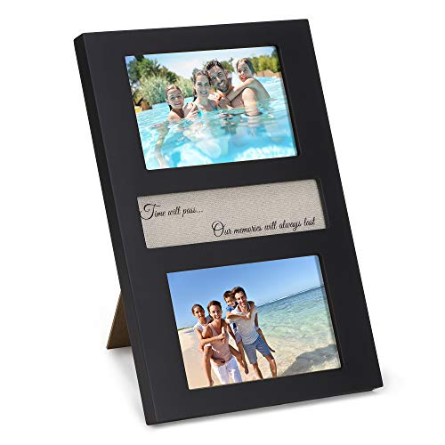 Precise Obsession 4x6 Picture Frame Black – Solid Wood Dual Photo Frame for Desk or Wall – Vertical Photograph Frame with Heart Warming Memories Quote for Couples, Mom, Dad, Family
