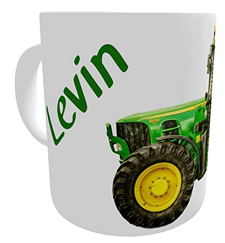 Kilala Traktortasse personalisierbar, Namenstasse mit Traktor Fotodruck, Trecker Tasse inkl. Geschenkverpackung, Weiß