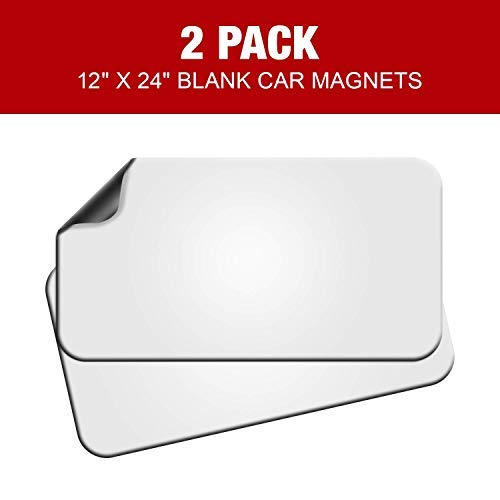 Blank Magnets (2 Pack) – Rounded Corners Blank Car Magnet Set – Perfect Magnet for Car to Advertise Business, Cover Company Logo (for HOA), Prevent Car Scratches & Dents – New! (Regular Large)