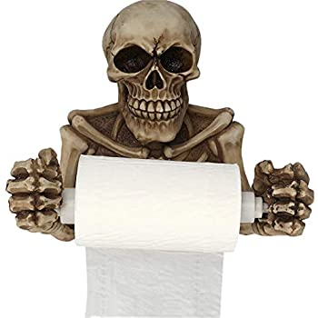 XIYUAN Skull Toilet Paper Holder Retro Halloween Decorations Wall Mount Toilet Tissue Paper Roll Storage Holder Stand ,Paper Towel Holders(Skeleton)