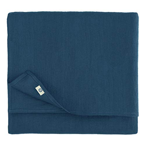 Linen & Cotton Mantel de Mesa de Centro Paño de Mesa Decoración de Comedor Hygge - 100% Lino, Azul Oscuro (100 x 100 cm) Cubierta de Mesa Cuadrada Pequeña para Cocina Cena Navidad
