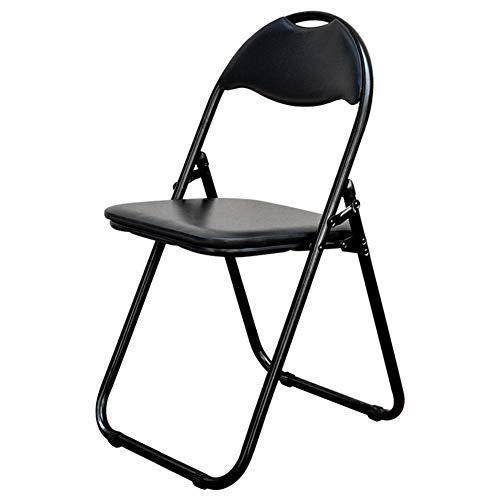 HOUMEL Faux lederen gevoerde opklapstoel Home Office Dining, zwart Sterk Staal Frame bureaustoelen voor slaapkamers, Comfy Cushioned Seat Voor buiten en binnen