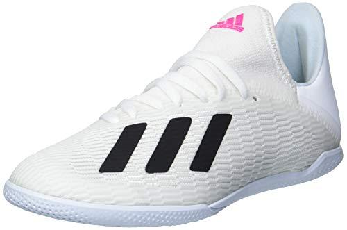 adidas Men's X 19.3 Indoor Soccer Shoe, White/Black/Shock Pink, 5