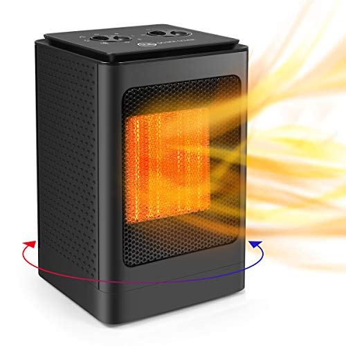 Space Heater Portable, PTC Heater Ceramic Fan Heater Quiet 750/1500W, Electric Fast Heating Thermostat,...