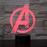 Avengers Logo 7 Farbe 3D Nachtlicht, Schlafzimmer Schreibtisch Nachttisch Licht für Kinder Tag...