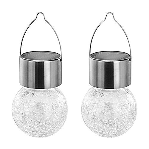 Luces colgantes solares de cristal agrietado colgante bola luces al aire libre linterna adornos para jardín patio patio