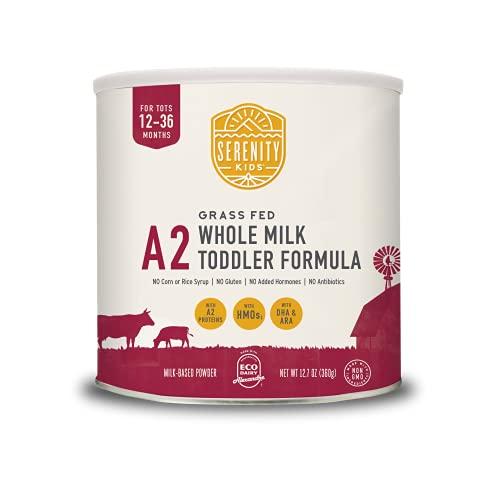 Serenity Kids A2 Organic Whole Milk Toddler Formula Powder, Vitamin and Nutrient Rich, Gluten Free, Grass Fed, 12.7oz (1 Can)