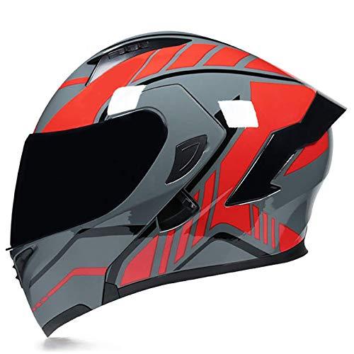 ACEMIC Casco Modular abatible para Motocicleta, Casco Integral Integrado para Motocicleta, Casco Modular para Motocicleta con certificación Dot con visores Dobles, Casco para ciclomotor de motocicl