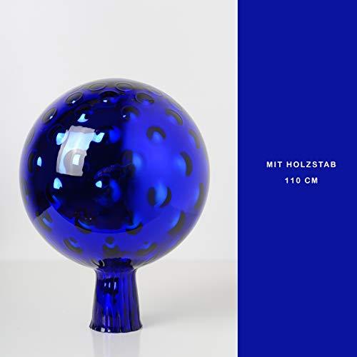 Rosenkugel aus Glas für den Garten mit Stab – perfekte handgemachte Garten-Dekoration für Ihr Blumenbeetin, 21/15 cm mit einem Stab, Blau Trauben Optik