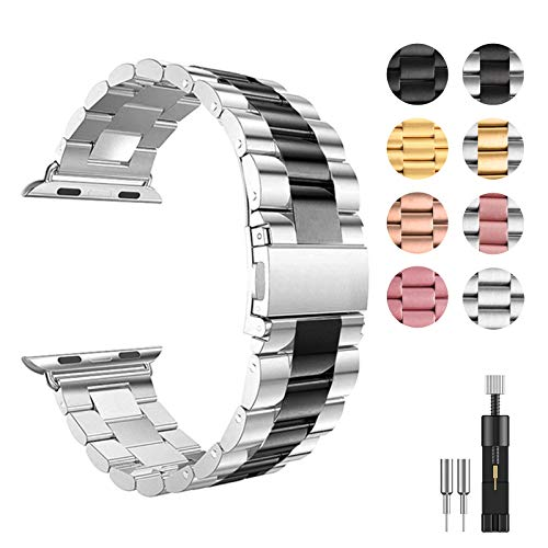 Smartwatch Band, Compatible with Apple Watch Band 42mm 44mm 40mm 38mm, Stainless Steel Metal Replacement Bracelet Bands for iWatch SE Series 6 5 4 3 2 1, for Men Women (38mm/40mm, Silver+Black)