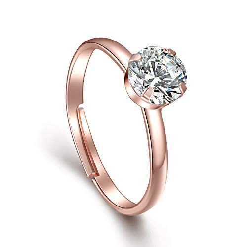 Topoox 40 Pack Rose Gold Diamond Engagement Rings for Bridal Shower Party Game WeddingTable Decorations