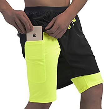 Qualidyne Men's 2 in 1 Running Shorts with Phone Pockets