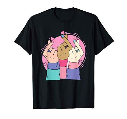 Dedo coreano Signo de corazón Manhwa Kawaii K Pop Star Love Camiseta