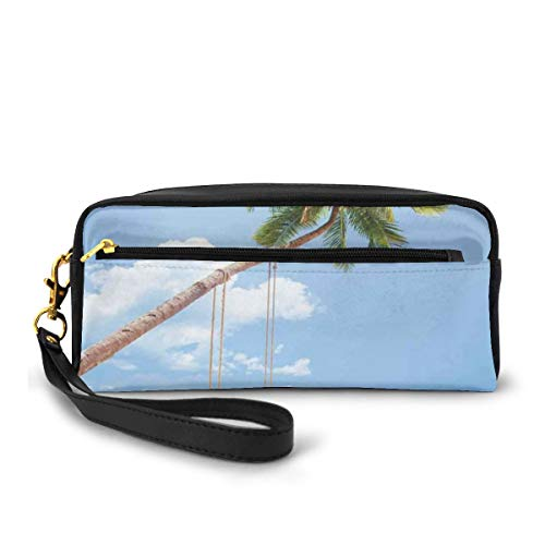 Pencil Case Pen Bag Pouch Stationary,Photo of A Tropical Island with Coconuts Palm Trees and A Swing Beach Home Decor,Small Makeup Bag Coin Purse
