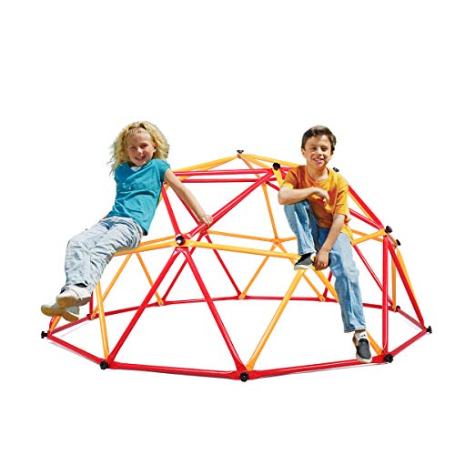 JAXPETY Outdoor Dome Climber Playground Children Kid Swing Set Climbing Frame Backyard Gym, Red and Yellow
