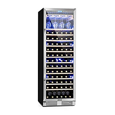KLARSTEIN Vinovilla Grande - Large Capacity Wine Refrigerator, Beverage Fridge, Volume: 425 L, 165 Bottles, 13 Shelves, Touch Control, LED Selectable 3 Colours, Adjustable Temperature, Black