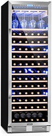 Klarstein Vinovilla Grande - Nevera para vinos, 425 L, 165 botellas, Control táctil, Iluminación LED en 3 colores, Temperatura ajustable, Soporte para copas, 13 estantes de madera, 1 zona, Plateado
