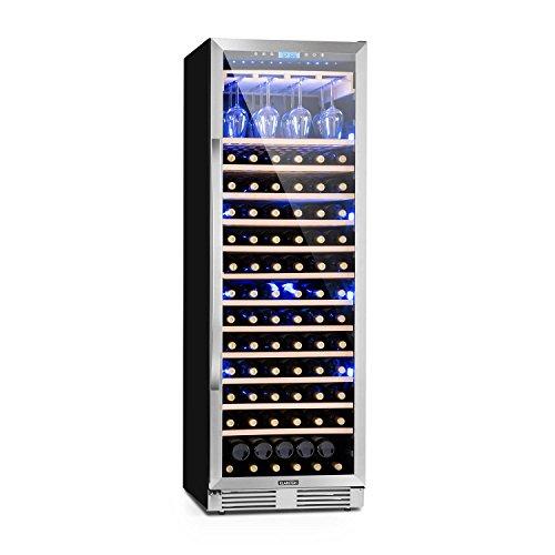 KLARSTEIN Vinovilla Grande - Frigorifero per Vino, Cantinetta, Touch Control, Luci LED in 3 Colori, Porta Bicchieri, Temperatura regolabile, 425 L, 165 Bottiglie, 13 Ripiani, 1 Zona, Nero Lucido