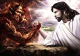 Poster, Motiv: Armdrücken mit Jesus und dem Teufel - A4