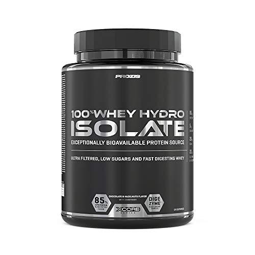 Prozis 100% Whey Hydro Isolate SS para la Quema De Grasas, la Recuperación Muscular y la Musculación, Fácil de Digerir y Bajo en Carbohidratos, Chocolate y avellanas - 2000 g