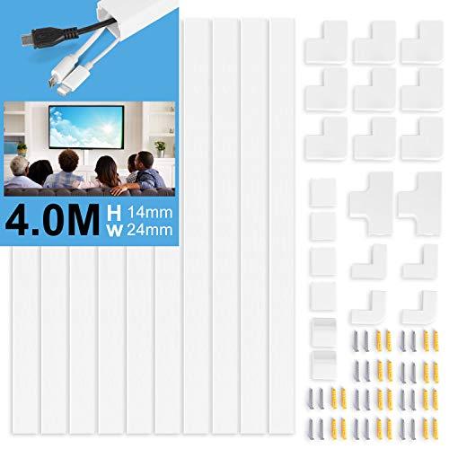 Vemingo Kit de Canaleta Para Cableado ,24x14mm Kit de Canaletas para Cables para almacenamiento de cables eléctricos Cubierta de cables de oficina en casa -10XL400mm Blanca
