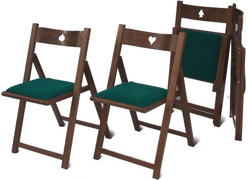 Del Fabbro 1 Set 4 sedie da Gioco Pieghevoli, Noce Verniciato, nessuna