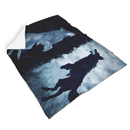 Magiböes Flanell Fantasy Wikinger Wolf Hati Skoll Stampa Cool Coperta interna per interni Zaino Bianco 130 x 150 cm