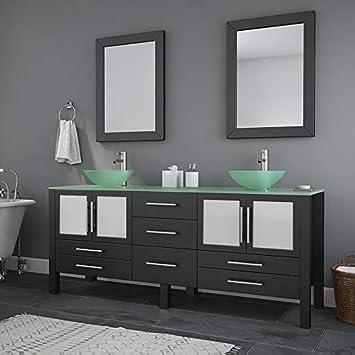Amazon Com 71 Inch Espresso Modern Bathroom Double Vanity Set Lafayette Brushed Nickel Faucets Home Kitchen