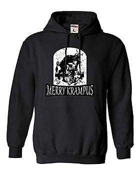 Go All Out Large Black Adult Merry Krampus Christmas Demon Sweatshirt Hoodie