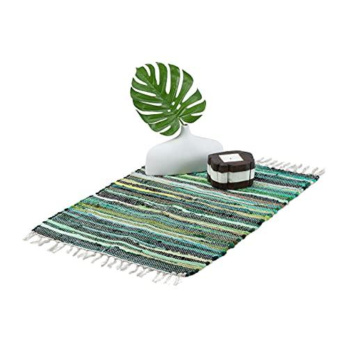 Relaxdays Tappeto Etnico, Cotone Intrecciato, 50x80 cm, Passatoia Antiscivolo, Guida con Frange, a Mano, Tonalità Verdi
