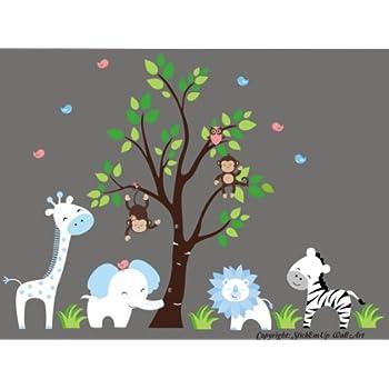 Amazon Com Baby Boy S Nursery Decor Blue And White Animals Safari Themed Kids Decorations Jungle Animal Decals Baby Room Ideas Giraffe Elephant Lion Zebra Tree Monkey Birds Baby