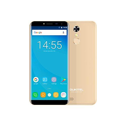 OUKITEL C8 Smartphone Libres, 5.5' 3G Teléfono Móvil, Pantalla de Arco 2.5D, Android 7.0 Quad Core 2GB+16GB, Sensor de Huella Dactilar, Cámara 13MP+5MP, Doble SIM, Oro
